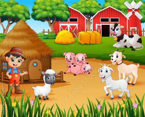 Farmer and farm animal in the farmyard Wallpaper Mural