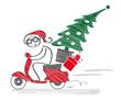 Weihnachtsmann fährt mit Motoroller und liefert Weihnachtsbaum und Geschenke