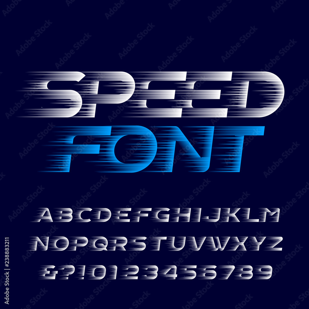 Fototapeta Speed alphabet font. Fast speed effect type letters and numbers. Stock vector typescript for your design. Easy color change.