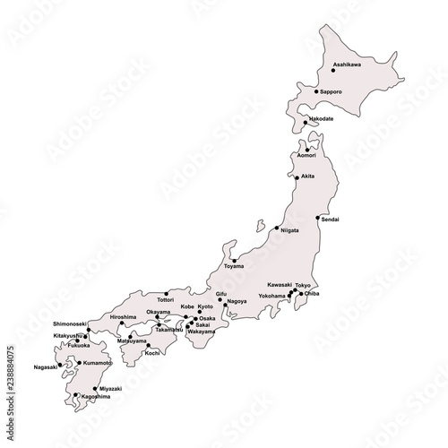 Japan Outline Map With Stroke Isolated On White Background With