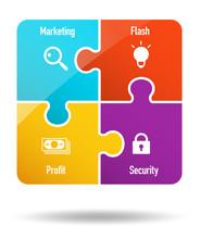 4 Pieces Puzzle Business Icon
