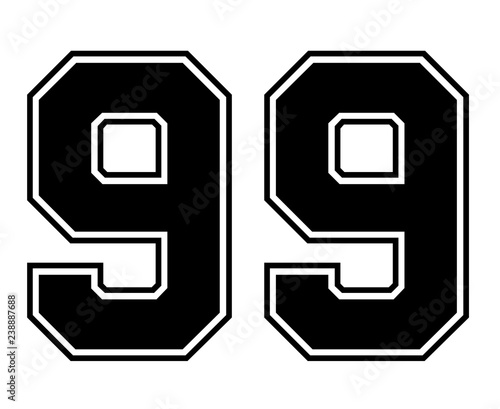 Photographie  Classic Vintage Sport Jersey Number 99 in black number on white background for american football, baseball or basketball / logos and t-shirt
