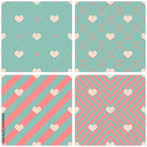 Photo  Tile vector pattern with hearts on pink and mint green background