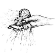 A Scorched, Crumbling Heart In A Woman's Hand. Vector Hand Drawn Illustration. Monochrome Drawing Isolated On White Background