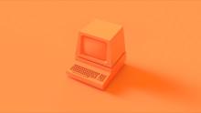 Orange Vintage Computer 3d Illustration