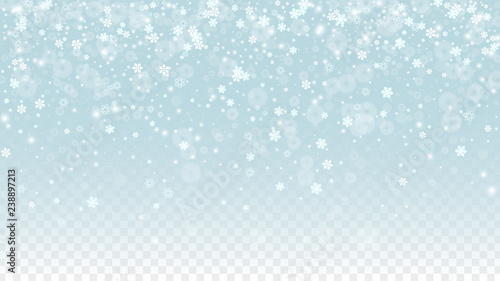 Montage in der Fensternische Licht blau Christmas Vector Background with White Falling Snowflakes Isolated on Transparent Background. Realistic Snow Sparkle Pattern. Snowfall Overlay Print. Winter Sky. Design for Party Invitation.