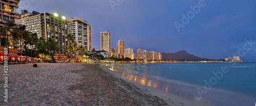 Waikiki Beach, Honolulu, Oahu at Dusk