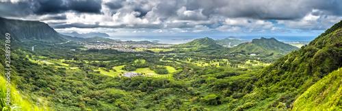Nuuanu Pali Lookout Panorama on Oahu, Hawaii Fototapet