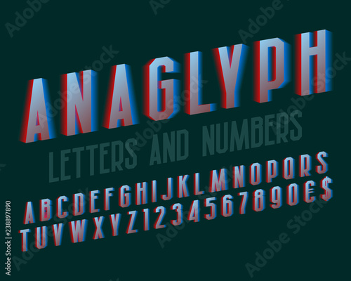 Anaglyph letters and numbers with currency signs Canvas Print