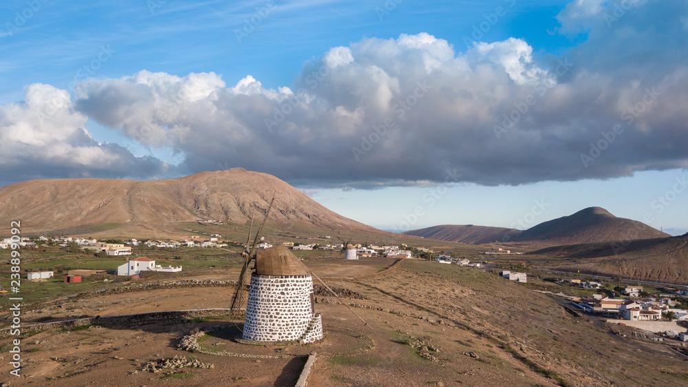 Fototapeta aerial view of windmill.