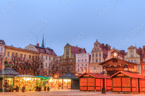 Foto op Plexiglas Temple Christmas morning market place in Wroclaw, Poland