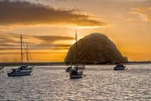 Morro Rock At Sunset At Highway 1 In California