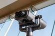 Tourist binoculars. Binoculars telescope on observation deck for tourist.