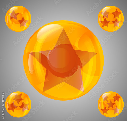 a set of five glossy balls with stars from one Canvas Print