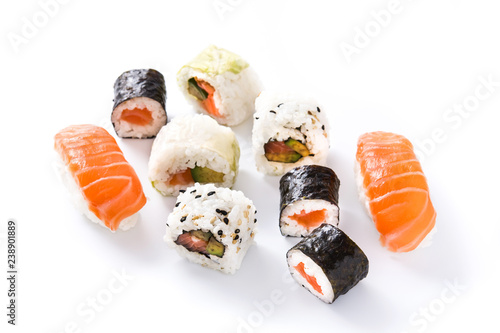 sushi pattern on white background