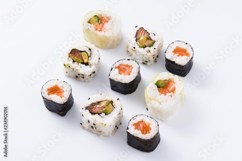 Foto op Aluminium Sushi bar sushi pattern on white background