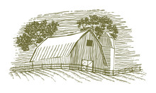 Woodcut Barn And Silo Icon