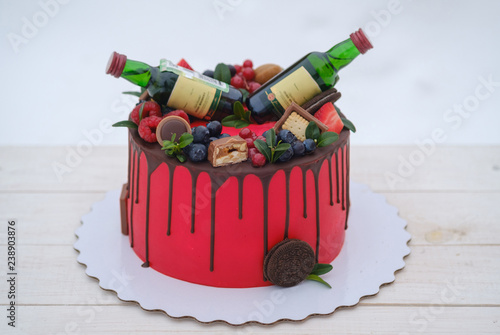 Surprising Birthday Cake With Red Cream And Two Bottles Of Cognac Buy This Funny Birthday Cards Online Unhofree Goldxyz