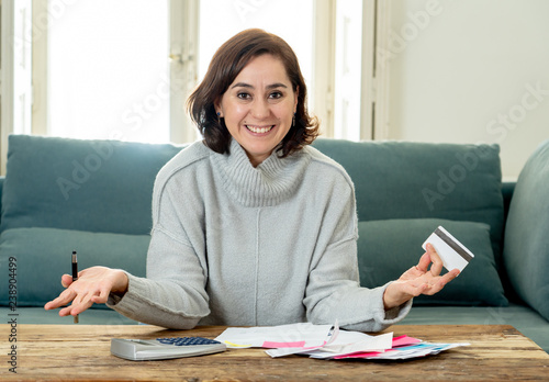 Obraz na plátně Attractive successful entrepreneur woman with credit card accounting finance Hap