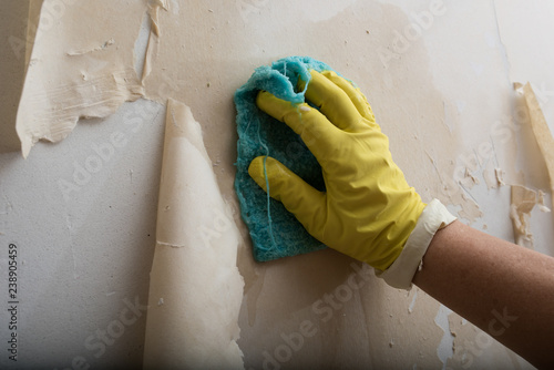 Cleaning the wall from old wallpaper Wallpaper Mural