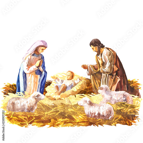 Obraz na plátně Christmas Crib, Holy Family, Christmas nativity scene with baby Jesus, Mary and