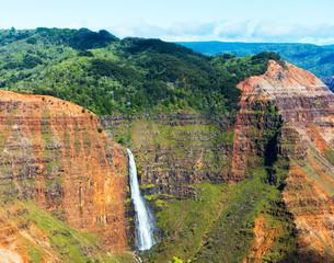 View of the waterfall in the Waimea Canyon in Kauai, Hawaii islands, USA.