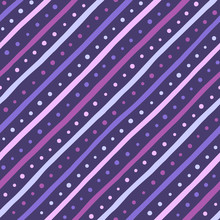 Dark Violet, Lilac, Purple Doodle Style Diagonal Stripes And Dots Seamless Repeat Pattern.Uneven Tilted Bars, Round Spots Background. Abstract Hand Drawn Streaks, Strips And Blobs Dynamic Texture.