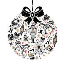 Christmas Tree Ball. Black Christmas Vector Card. Around Motif.