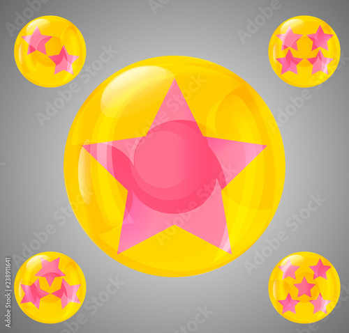 Photo  a set of five glossy balls with stars from