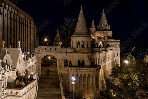 Fotografia, Obraz Fisherman's Bastion, Budapest, Hungary, lit up at night