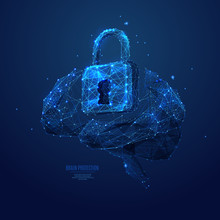 Lock And Brain Low Poly Blue