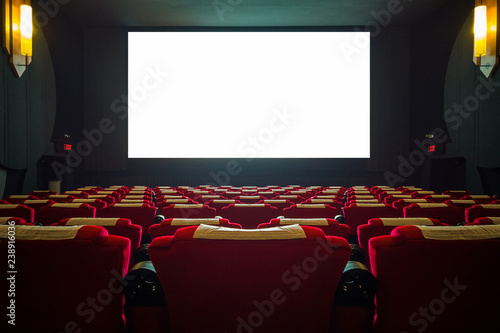 Cinema hall with red seat and wide white screen Wallpaper Mural