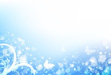 Butterfly And Leaves Scatter With Blur Fresh Bubble Air And Star Shine Sparkle Blue Sky Bokeh Winter Nature Season Concept Abstract Background Vector Illustration