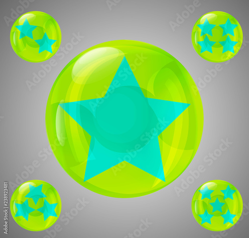 Photo  a set of five glossy balls with stars from one