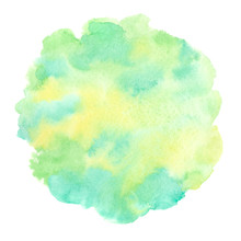 Spring, Summer, Eco, Nature, Easter Watercolor Background With Yellow, Grass Green, Emerald Aquarelle Stains. Rounded, Uneven Circle Shape. Soft Pastel Colors. Hand Drawn Abstract Watercolour Fill.