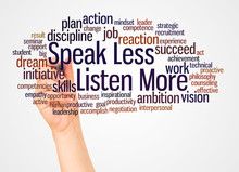 Speak Less Listen More Word Cloud And Hand With Marker Concept