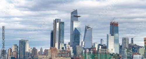 Poster New York City Hudson Yards skyscrapers and Manhattan skyline in New York City as seen from Jersey City