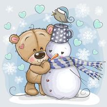 Cartoon Teddy Bear And A Snowman