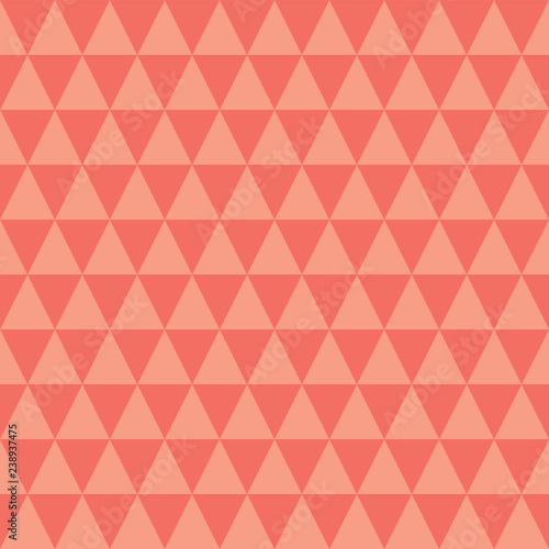 Fototapeta Coral and peach triangles seamless vector pattern Simple abstract geometric background texture Pantone living coral color of the year 2019 background