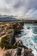Cliffs and bufones (blowholes) of Pria in Llanes, Asturias. Spain.