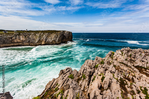 Cliffs and bufones (blowholes) of Pria in Llanes, Asturias Canvas-taulu