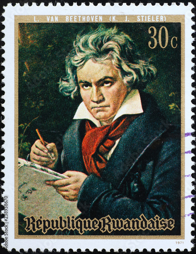 Portrait of Ludwig van Beethoven on postage stamp Canvas Print