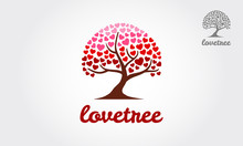 Heart Tree Or Love Tree Icons - Concept Vector. This Graphic Also Represents Harmony & Peace, Spreading Love, Empathy And Compassion - Vector