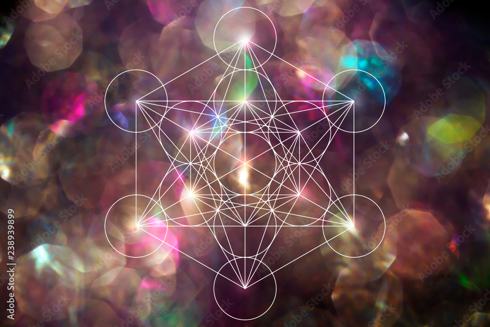 Fototapeta Abstract metatrone merkabah sacred geometry with lens blur effect