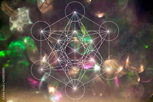 Fotografiet Mercabah Metatrone cube sacred geometry on bokeh background