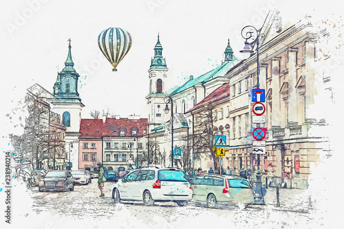 Fototapeta A watercolor sketch or illustration of a traditional street with apartment buildings in Warsaw, Poland. Cars go on the road. Hot air balloon flies in the sky. obraz