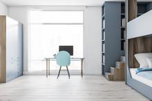 Teenager Room Interior, Computer Desk, Gray