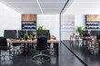 Wooden bookcases office with glass wall