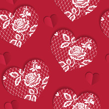 Elegant Seamless Pattern Valentine's Day With Lacy Red Hearts