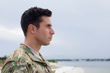 Soldier Standing On A Beach